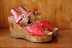vintage platforms / 1970s red leather and wood platforms / vintage shoes / size 9. $180.00, via etsy