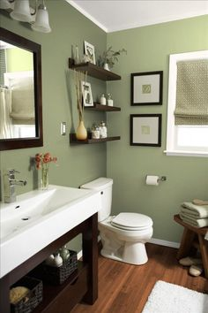 This is the color we already planned to paint the bathroom. Now I'm really sold - This looks great! Powder Room, Powder Bathroom, Half Bath, Bathroom Paint Color, Paint Colors, Bathroom Ideas, Bathroom Walls, Paint Bathroom Colors, Upstairs Bathrooms