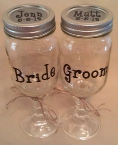 REDNECK WINE GLASS for Bride  Groom with Names  Wedding Date. CUSTOM MADE by Pams Polka Dots --- $10.00 each http://media-cache4.pinterest.com/upload/246431410830220661_a4tzbdS7_f.jpg graphroditee my favorite products