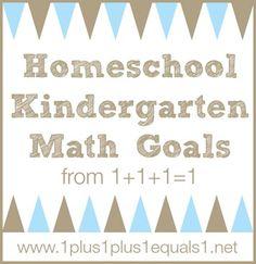 Kindergarten Math Goals from @{1plus1plus1} Carisa