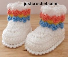 Free booties baby crochet pattern from http://www.justcrochet.com/booties-usa.html #justcrochet #freebabycrochetpatterns