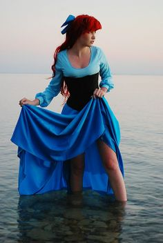 ariel cosplay | Tumblr; love this gorgeous blue dress, never noticed how awesome the black corset looks!