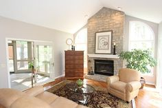 #Living room with stone fireplace