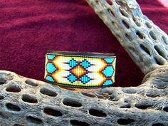 Native American Beaded Leather Bracelet In Turquoise by LJGreywolf, $30.00