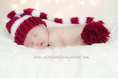 Newborn Santa Hat Striped Christmas Elf Hat Newborn Photography Prop Burgandy and White. $26.00, via Etsy.