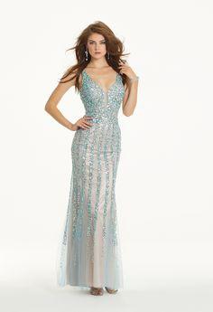 Camille La Vie Sleek V-Neck Sequin Prom Dress