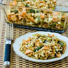 Whole Wheat Orzo Casserole Recipe with Salmon, Asparagus, and Feta; I love whole wheat orzo, and love these ingredients in a casserole. You could sub brown rice for #GlutenFree version. [from Kalyn's Kitchen] #Salmon #Asparagus #Casserole #FavoriteRecipe