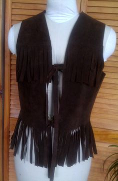 Fringe Vest / Hippie / Dark Brown Suede by Lauralous on Etsy, $43.00