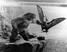 RKO Pictures publicity/behind the scenes photo from KING KONG [1933] Featuring the Kong  Pterodactyl Models used for the Special effects scenes