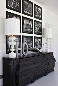 interior, frame, painting furniture, photo walls, dresser, gallery walls, black white, picture walls, matte black