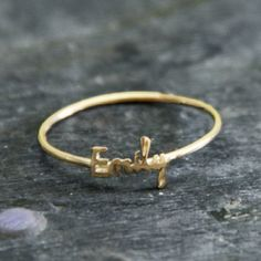 Initial Monogram / Handwriting 18K gold plated name ring.  One with each kid's name