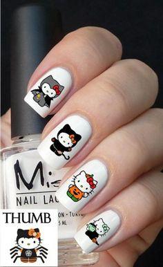 hello kitty Halloween Nail Decal Set | DesignerNails - Bath & Beauty on ArtFire