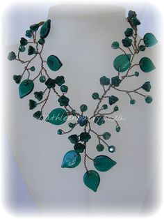 Molteno Necklace   Emerald Czech class and Swarovski crystals by KathleenBarryJewelry on Etsy,