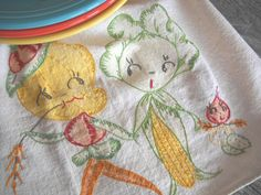 Vintage Veggie Family Dish Towel Anthropomorphic