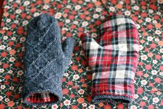 Flannel lined mittens.