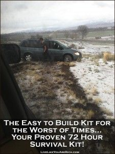Includes a list of an emergency car kit, baby emergency kit, first aid kit, and a survival kit for multiple people for 72 hours.