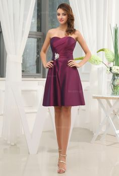 Sweetheart above the kneen length taffeta dress for ladies