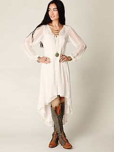 grey hair, high low dresses, the dress, free peopl, romantic dresses, people, lace dresses, boots, eyelet dress