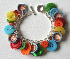 Button Bracelet Multi Colored Brights