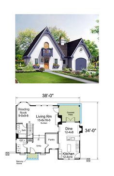 I love this little plan found here: http://www.architecturaldesigns.com/french-country-house-plan-57220ha.asp But I would alter it something like this. This makes room for a walk-in pantry and a reading nook, but more importantly the kitchen and dining room could have a gorgeously high, arched, beamed ceiling with that darling little round window. And you wouldn't have to walk downstairs and then all the way around to get to the bathroom.