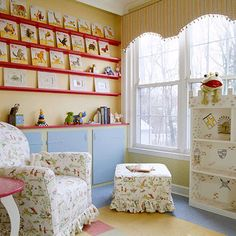 Yellow nursery with red and blue accents. I like these colors.