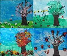 Each year we do a 4 Season's project with the kids... every 3 months we revisit it and look at the new season. This is our Bubble Wrap and fingerprint project. We loved every minute of it!!! via www.redtedart.com
