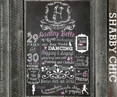 1st Birthday Shabby Chic Chalkboard Poster Sign Printable /DIGITAL / baby's 1st / Shabby Chic birthday / Chic / Girly / Plus FREE Web File