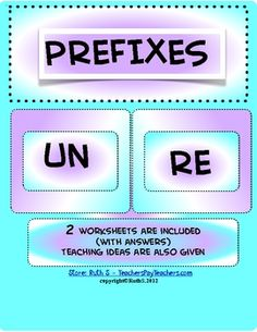 Prefixes UN and RE FREE