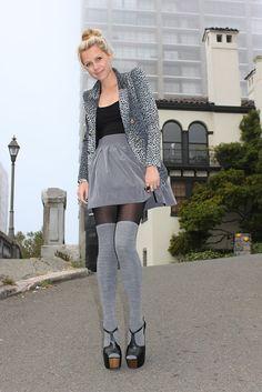Grey thigh highs