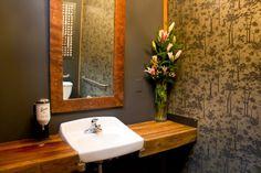restaur bathroom, powder room, sinks, recycled wood, rustic bathrooms, apartments, restaurants, san francisco, guest bathrooms