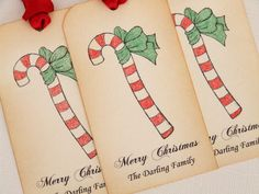 Personalized Christmas Gift Tags. Set of 6, vintage style tags featuring a candy cane with hand-coloured accents. These are perfect for your special gifts, to use on favors or as place settings. By simplyprettypieces, $7.50