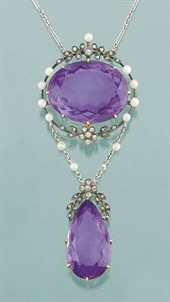 A late 19th/early 20th century amethyst, diamond and seed pearl necklace