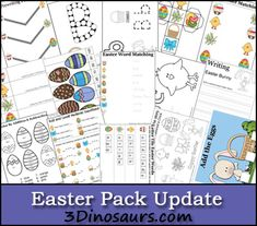 Free Easter Pack Updated! - 38 pages added to the original pack. Plus a Tot Pack update as well. These are for ages 2 to 8. 3Dinosaurs.com #free #printable #easter