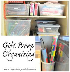 Wrapping paper station in the cupboard | OrganizingMadeFun.com