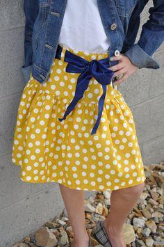 color polkadot, mustard color, etsi find, navi ribbon, famili pictur, etsi stuff, polkadot skirt
