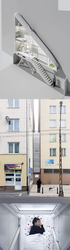 Keret House by Jakub Szczesny is the World's thinnest house at four feet wide.
