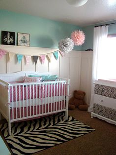 love the colors in this girl's nursery