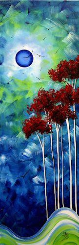 """""""Blue Moon""""  ~ Megan Aroon Duncanson (MADART) painting with trees"""