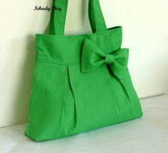 Handbag / Purse / Tote Bag Canvas Bow Shoulder Purse by ickadybag, via Etsy.