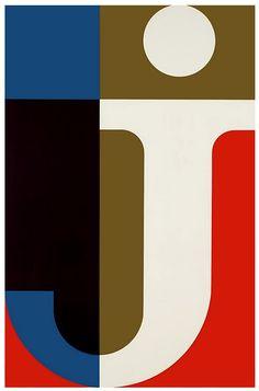 Letter J. Steendrukkerij de Jong  Co. poster, 1955 artists, graphic, natural colors, letter, poster, type, de jong, black, typographi