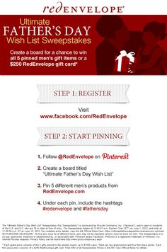 Amazing Father's Day Sweepstakes from the fabulous RedEnvelope! Incredible prizes!