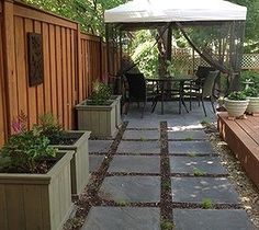 side yard/back of pool where the flowers are wild idea with the pavers