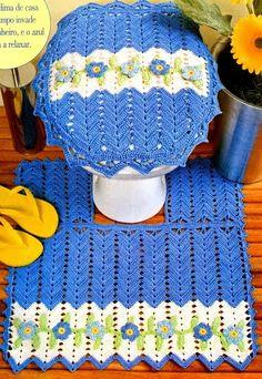 CROCHE COM RECEITA: Banheiro em crochê com quatro peças