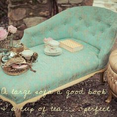 A large sofa a good book & a cup of tea...perfect!