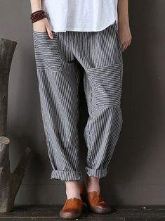 Only US$20.99 , shop M-5XL Women Stripe Elastic Waist Casual Loose Harem Pants at Banggood.com. Buy fashion Trousers Pants online.