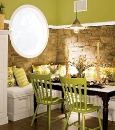 banquette using ready made cabinetry with storage and outdoor fabrics for cushions and pillows. kitchen banquette, chair, kitchen booth, kitchen tables, bench, breakfast nooks, color, kitchen nook, stone walls