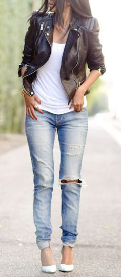 Casual Chic ♥ Moto  Ripped Jeans I have been wanting a jacket like this all winter!!