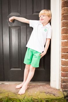 Monogrammed Short Set in Kelly green by Crescent Moon Children.