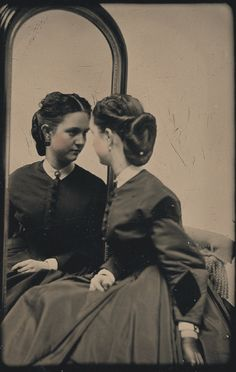ca. 1870, [daguerreotype portrait of a woman looking into mirror]  via the George Eastman House Collection, Still Photograph Archive