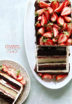 eriksson eriksson, baker royal, strawberri tuxedo, cakes, food, strawberries, bakers, dessert, tuxedo cake recipe